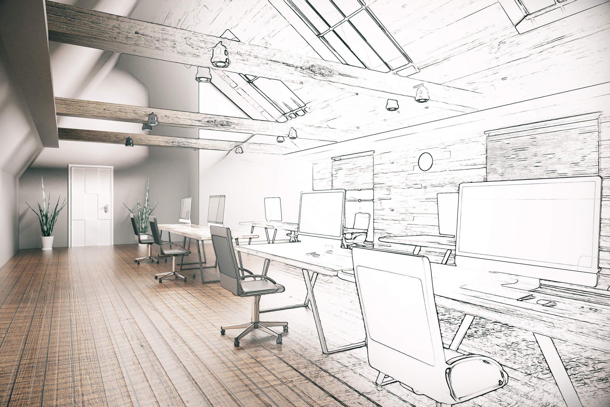 Titelbild-Büro-Skizze-Coworking-Space-Design-Office-iStock-607501972-peshkov