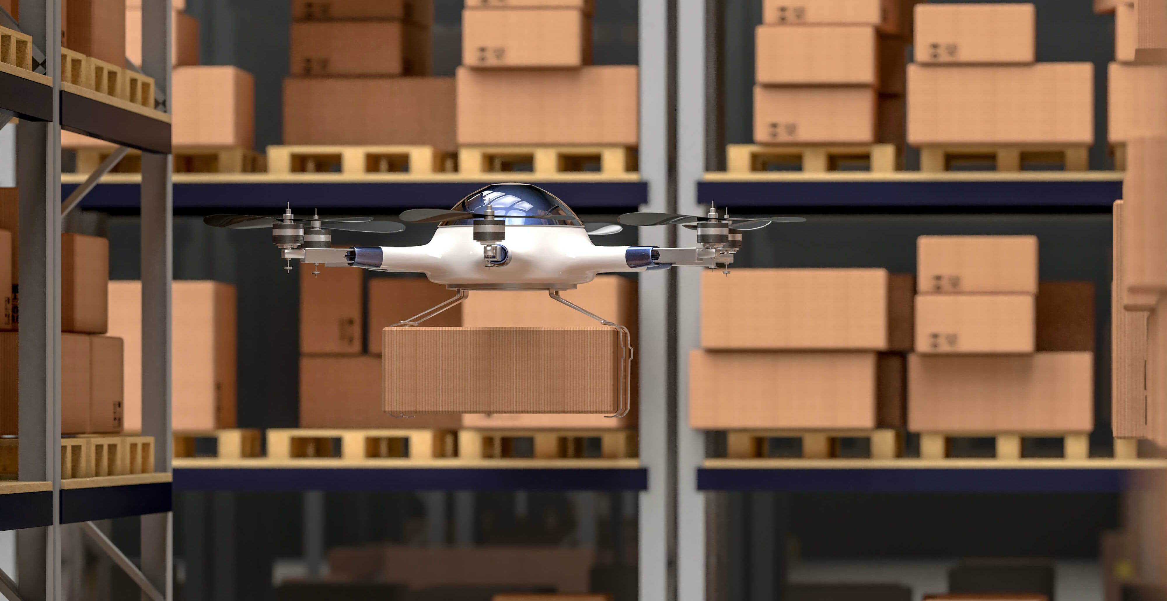 Titelbild-Drohne-Paket-Lager-Logistik-iStock-862621572