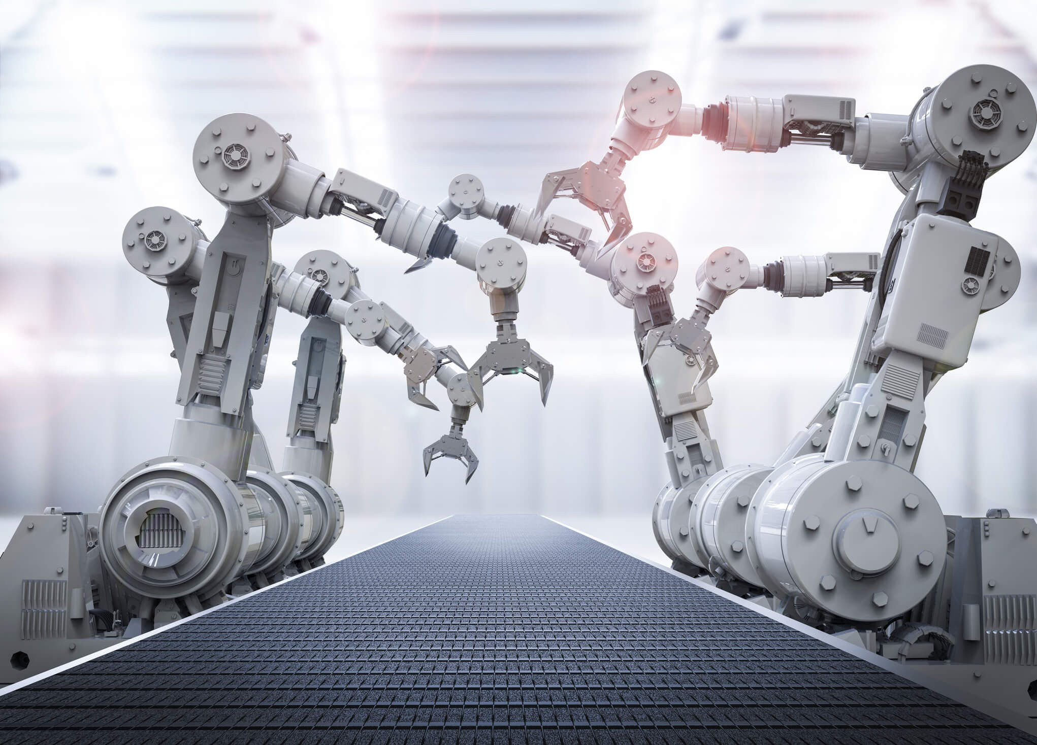 Titelbild-Fliessband-Roboter-Arme-Rendering-iStock-612375398-PhonlamaiPhoto